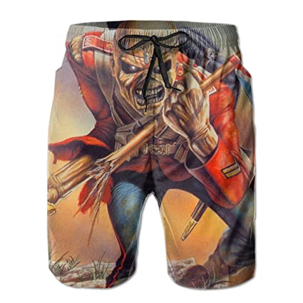 9865100bf8689 Amazon.com: HeeJiong The Trooper Iron Maiden Leisure Sport Fitness  Quick-Drying Men's Shorts Beach Pants with Pockets Swim Trunks Breathable  Sweat ...