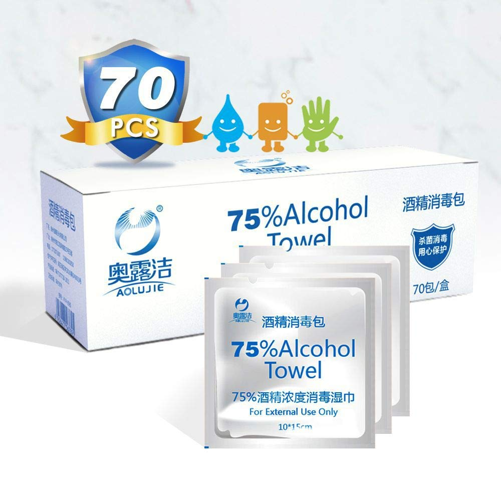 Large Alcohol Prep Pads 70pcs 75/% Alcohol Wipe Individually Wrapped Cleaning Wipes for House Office School Cleaning