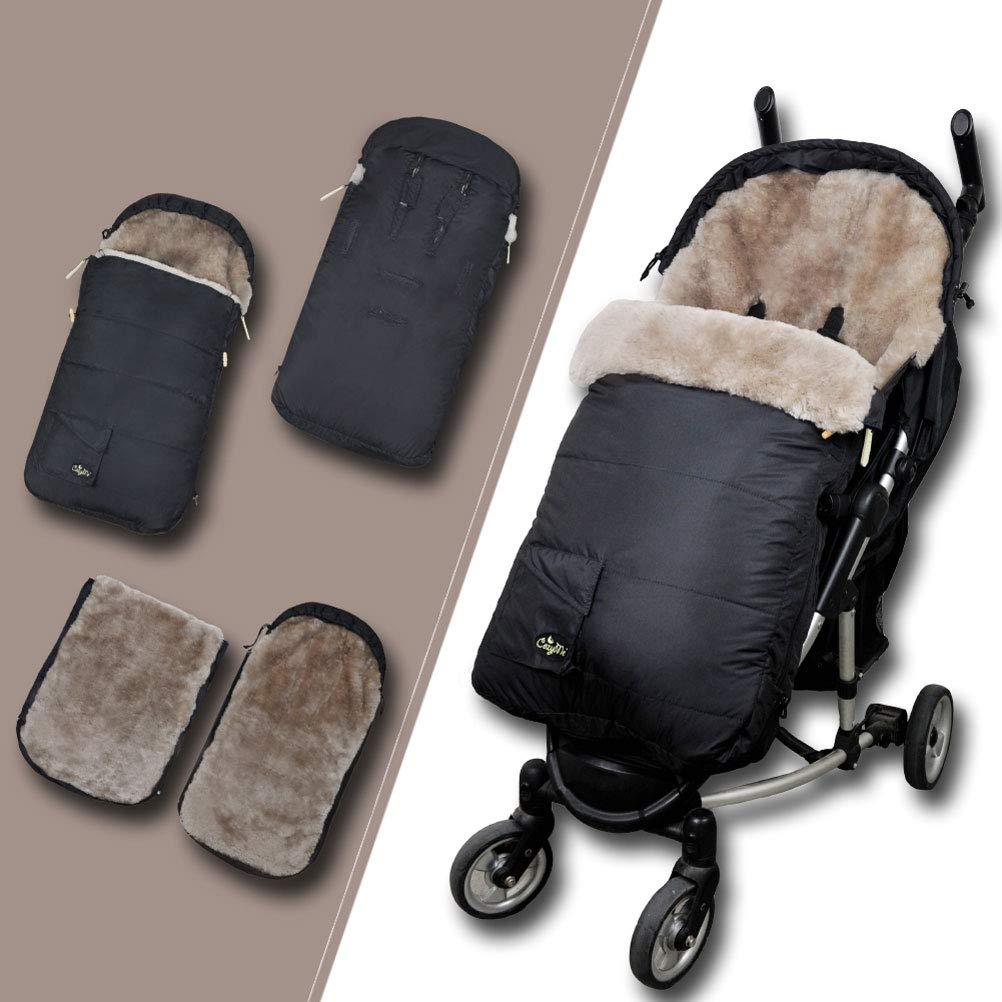 Eco-Friendly Supreme Australian Sheepskin Footmuff Waterproof Stroller Lambskin Bunting Bags Universal Fits All Joggers Pushchairs,6-36M