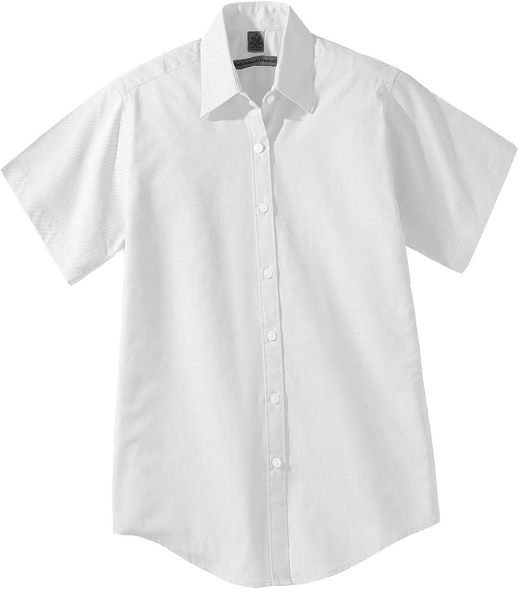 Edwards Garment Mens Short Sleeve Pinpoint Oxford Cotton Rich Shirt