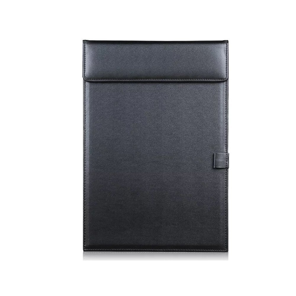 YAPISHI A4 Ultra-Smooth PU Leather Office Meeting Clipboard Conference Magnetic File Paper Profile Clip Drawing Writing Board Pad Tablet Desk Blotter File Mat Clipboard (Black)