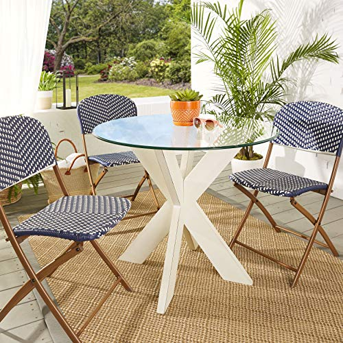 (Mozaic AMZ817811GT X Indoor Outdoor Round Patio Table - Wood Base w/Glass Top, 36