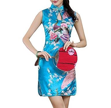 331ac03119c XueXian(TM) Womens Peacock Sleeveless Short QiPao Robe Ladies Summer Chinese  Dresses