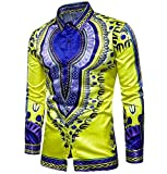 DoufineMen Baggy Autumn Printing Floral Long Sleeve Africa Tops Shirt Yellow XS