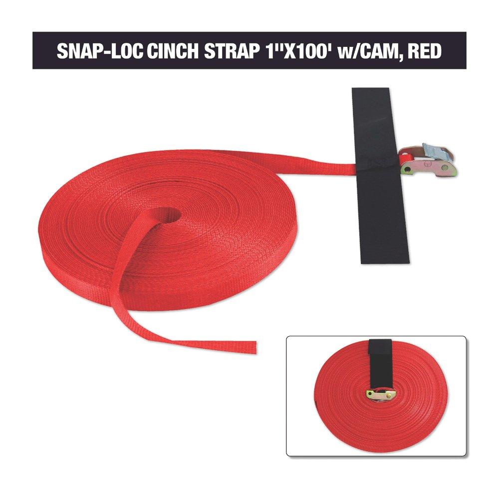 Snap-Loc Cinch Strap 1'x100' w/Cam, Red (USA) SLLS1100CR SnapLoc