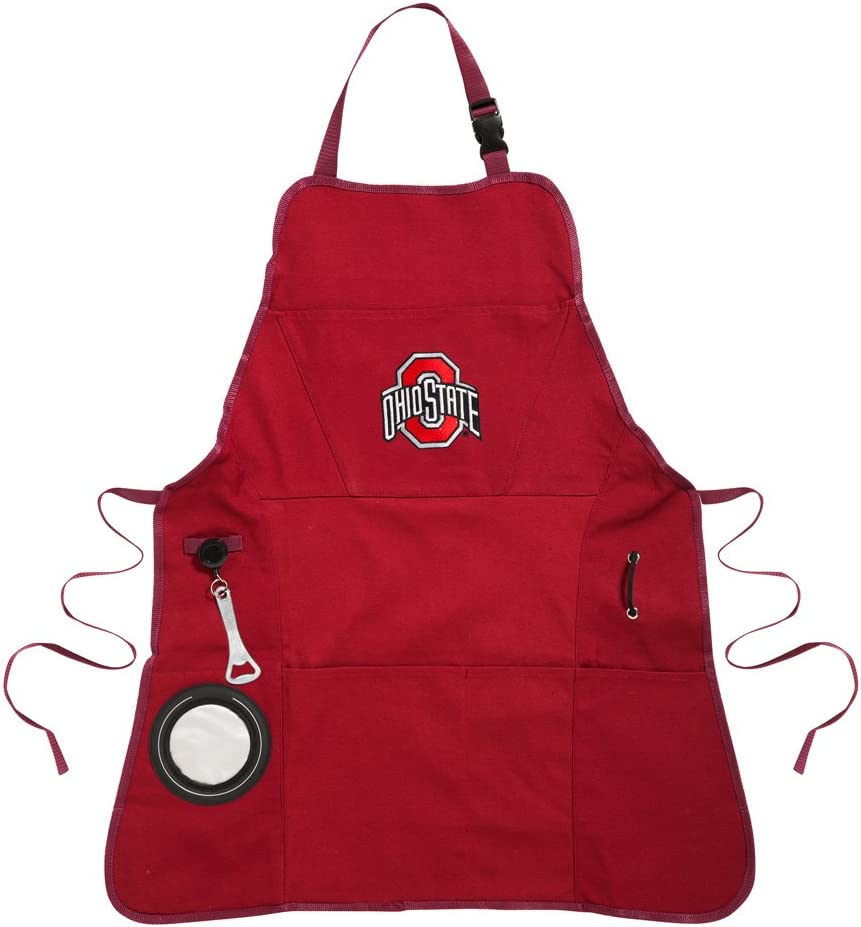 Team Sports America Collegiate Ohio State University Ultimate Grilling Apron Durable Cotton with Beverage Opener and Multi Tool for Football Fans Fathers Day and More