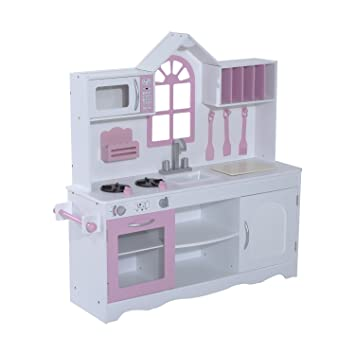 Qaba Country Cottage Kids Kitchen Playset White Pink