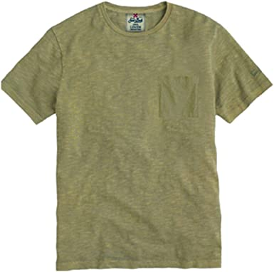 Saint Barth T Camiseta hombre lino verde militar. Militare XL ...