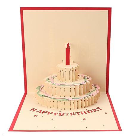 Amazon Birthday Cards 3d Pop Up Cake Greeting Card Handmade
