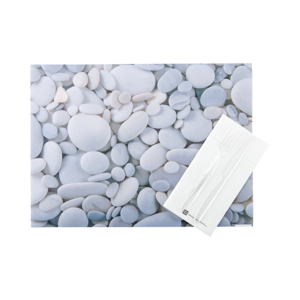 Paper Placemats - River Stone Print, Small Rocks - 12'' x 16'' - Semi Disposable - Reusable Up To 10 Times - 12ct box - Restaurantware