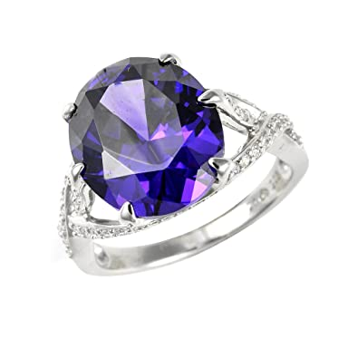 Ivy Gems Sterling Silver Tanzanite and White Cubic Zirconia Dress Ring o5bkP