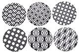 "Ceramic Coasters for Drinks,Large 4.2"" Natural Stoneware Coasters Black and White Sacred Geometry Pack of 6"