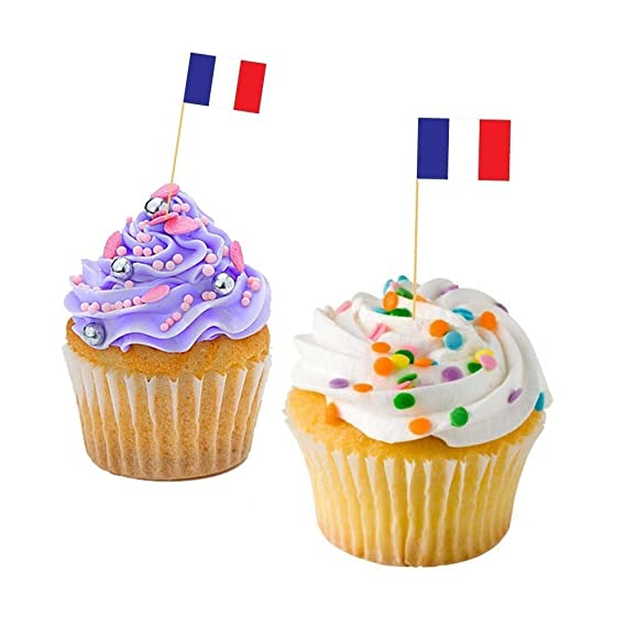 9009975c742ede FRENCH CUPCAKE FLAGS - France Baking Decoration Decorative Cake Toppers  (30)  Amazon.co.uk  Kitchen   Home