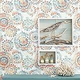"RoomMates RMK9126WP Bohemian Peel and Stick Wallpaper, 20.5"" x 16.5 feet, Orange/Blue"
