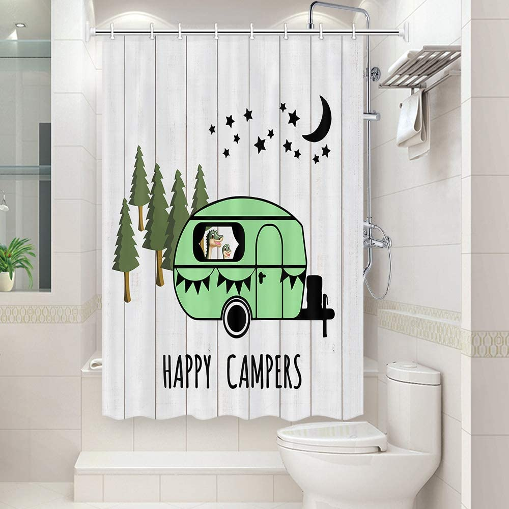 Waterproof Fabric Shower Curtain RV 47x64 Inch Colorful Wooden Barn Wall