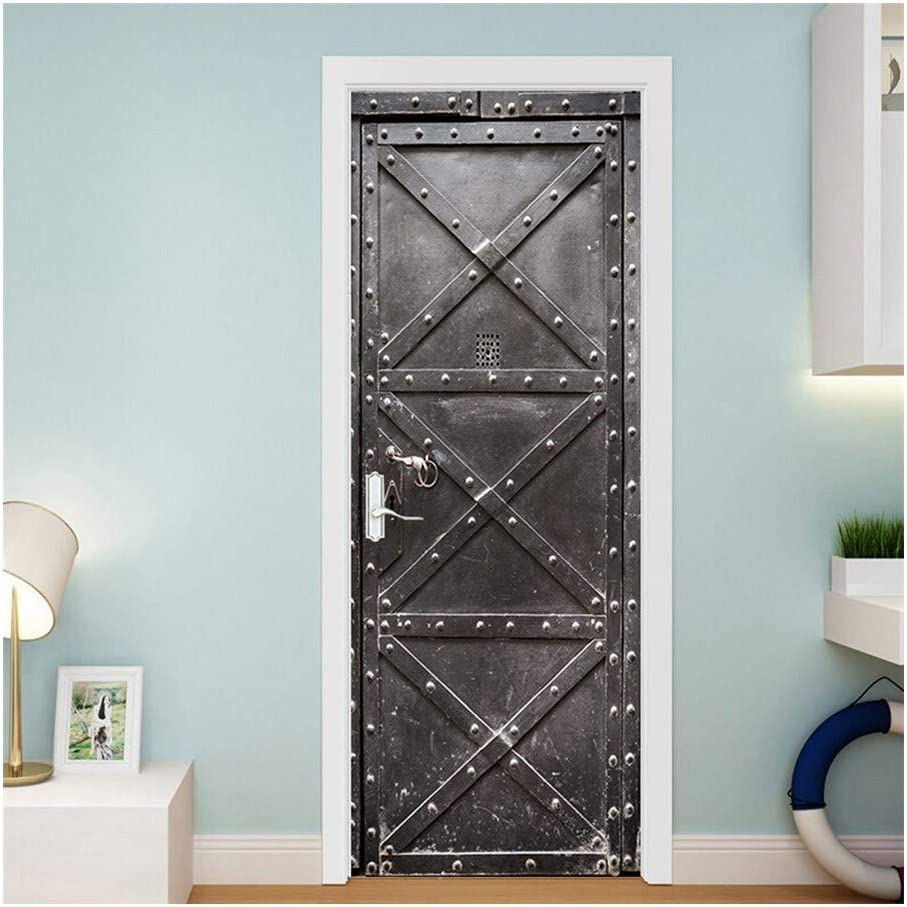 HNZXHYC - Adhesivo decorativo para puerta de hierro, autoadhesivo, para pared, diseño de puerta de hierro