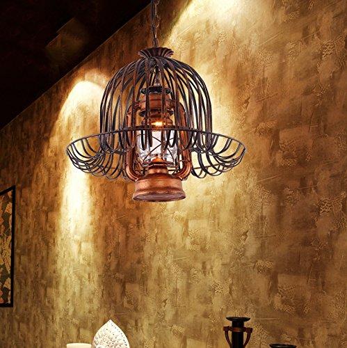 Luz colgante de techo retro, fuente de luz única E27 Lámpara de metal lámpara de aceitera retro Lámpara colgante para...