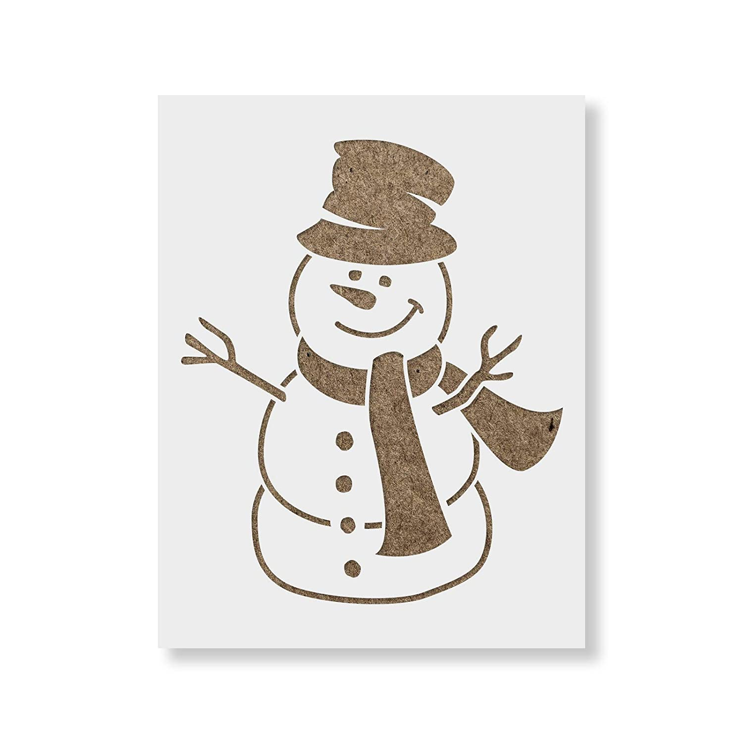 Snowman Stencil Template - Reusable Stencil with Multiple Sizes Available Stencil Revolution