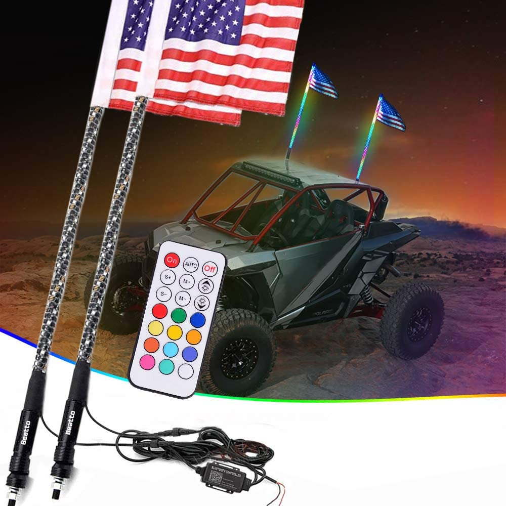 Beatto 2PCS 2FT 0.6M Road Vehicle ATV UTV RZR Jeep Trucks Dunes. RF Remote Controll RGB LED Whips Light with 4 Quick Release Bases and Dancing//Chasing Light for Off