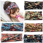 ZHW Baby Girls Cotton Turban Headbands Hair Flower Hairband (6 PCS)