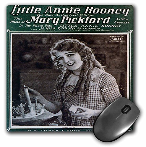3dRose BLN Vintage Song Sheet Covers - Little Annie Rooney Souvenir Edition Song Sheet Cover Photo of Mary Pickford - MousePad (mp_154810_1)