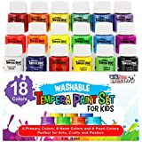 U.S. Art Supply 18 Color Children's Washable Tempera Paint Set - 2 Ounce Wide Mouth Bottles for Arts, Crafts and Posters