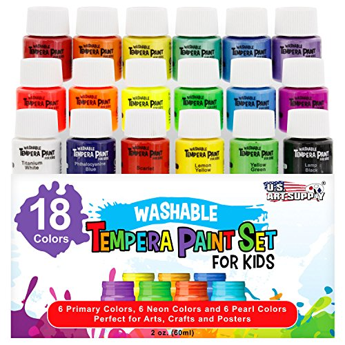 - U.S. Art Supply 18 Color Children's Washable Tempera Paint Set - 2 Ounce Wide Mouth Bottles for Arts, Crafts and Posters