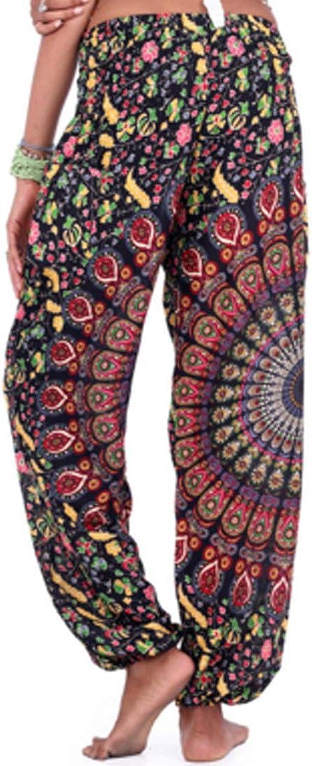 GYUANLAI Femmes Boh/ème Floral Imprim/é Coupe L/âche Yoga Fit Danse Pantalon D/écontract/é Grande Taille Sport