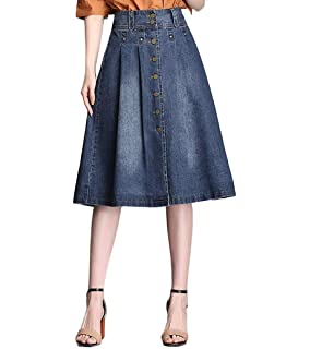 698af0b29d Wendao Button Front Denim Skirts for Women Knee Length A-Line Pleated Wrap  Midi Blue