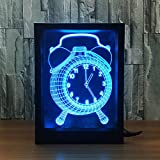 Ornerx 3D Illusion Lamp Photo Frame LED Night Light Alarm Clock