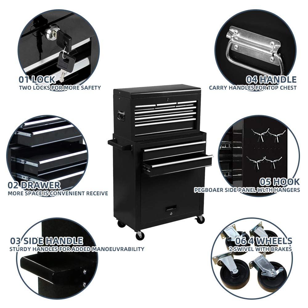 Tool Box 8-Drawer Rolling 2 in 1 Tool Cabinet With Drawer Removable Tool Box,Keyed Locking System Toolbox Organizer Boxes,Black by Long World (Image #3)
