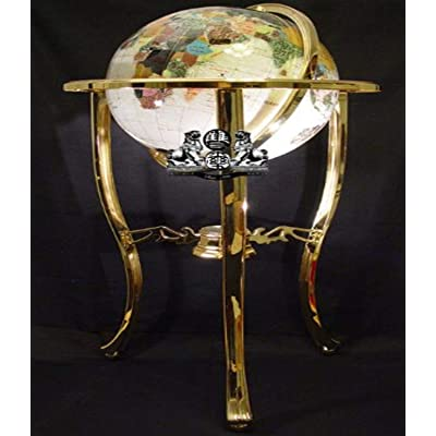 Unique Art 36-Inch by 13-Inch Floor Standing Pearl Ocean Gemstone World Globe with Gold Tripod: Home & Kitchen