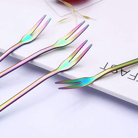 WOVELOT 4 Pieces Ensemble en Acier Inoxydable creatif Fleur Magique Fleur Fruit Fourche Colore Fruit creatif Signe Gateau Colore Dessert Fourchette