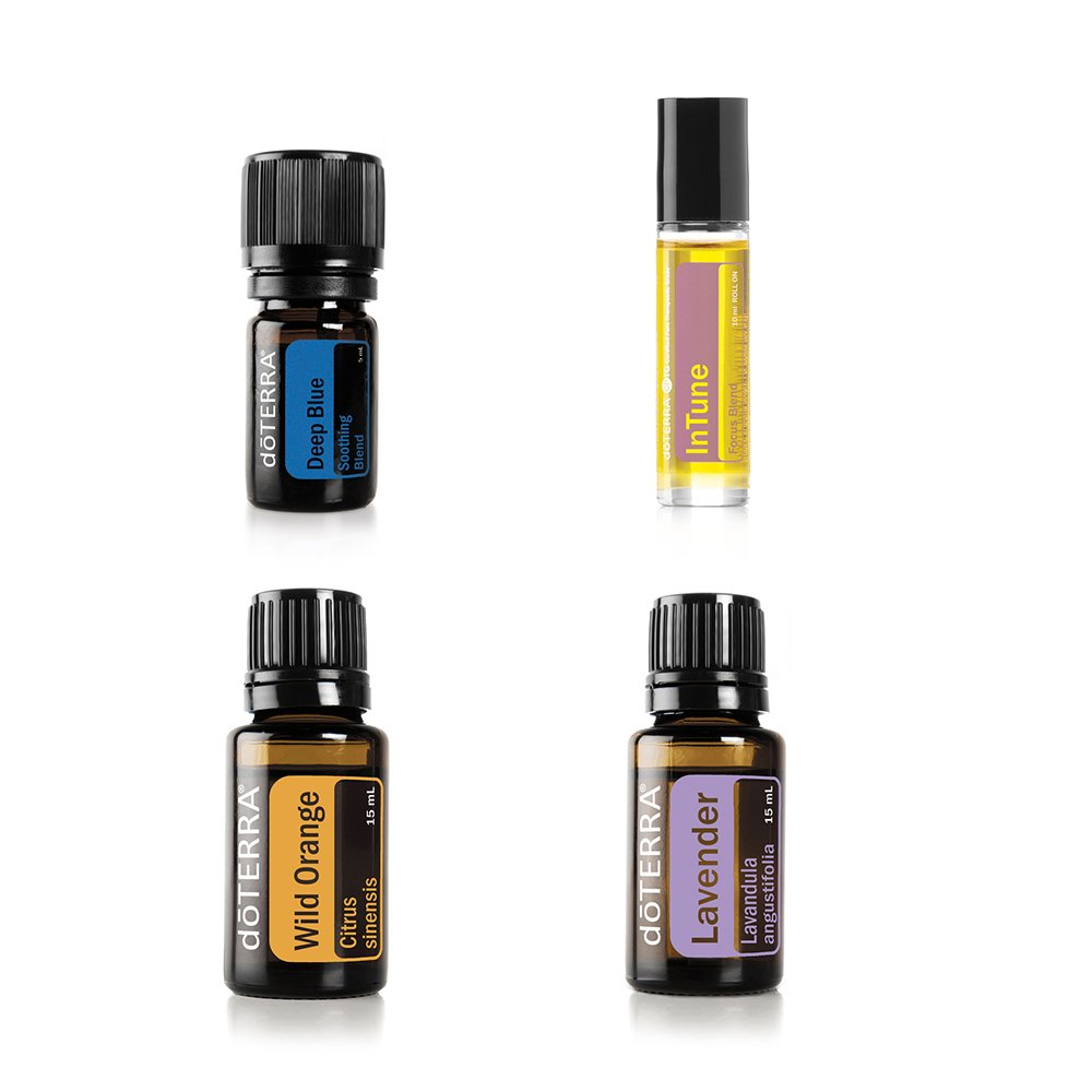 doTERRA Essential Oil Value Set [4 in 1 Started Kit] - Deep Blue 5ml + Lavender 15ml + In Tune Roll On 10ml + Wild Orange Essential Oil 15ml