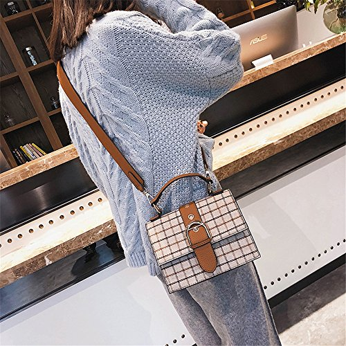 Messenger Bag Straps Shoulder Bag Brown Retro Buckle Simple Shoulder PU Sunbobo Magnetic Square Wide wRPZ7