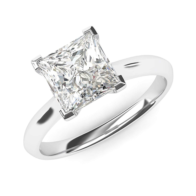 14k White Gold Square 8mm Simulated Princess Cut Diamond Engagement Ring Knife Edge Promise Bridal Ring (8.5) by THELANDA (Image #2)