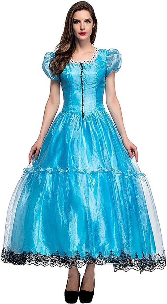 CHIYEEE Mujer Disfraz de Vestido Alicia en el País de Las ...