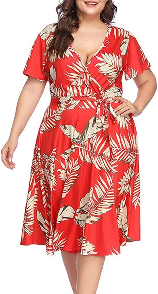 Ruffle Dresses For Women Ladies Plus Size V-neck Casual Bohemian Short Sleeve Belt Dress For Anniversary,Party,Valentines Day Red,XXL