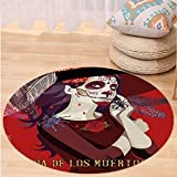 VROSELV Custom carpetDay Of The Dead Decor Skull Dead Corpse Cute Girl with Hat and French Dress for Bedroom Living Room Dorm Maroon Ruby and Burgundy Round 72 inches