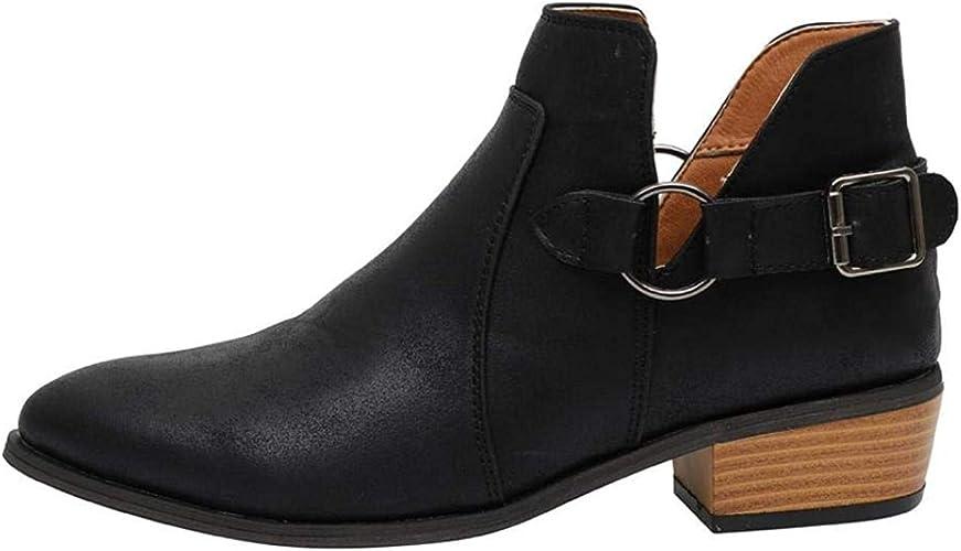 Damen Stiefel Chelsea Stiefeletten Boots Flache Schlupfstiefel Blockabsatz Leder