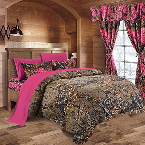 20 Lakes Woodland Hunter Camo Comforter Set (Forest Brown / Bright Pink, Queen)