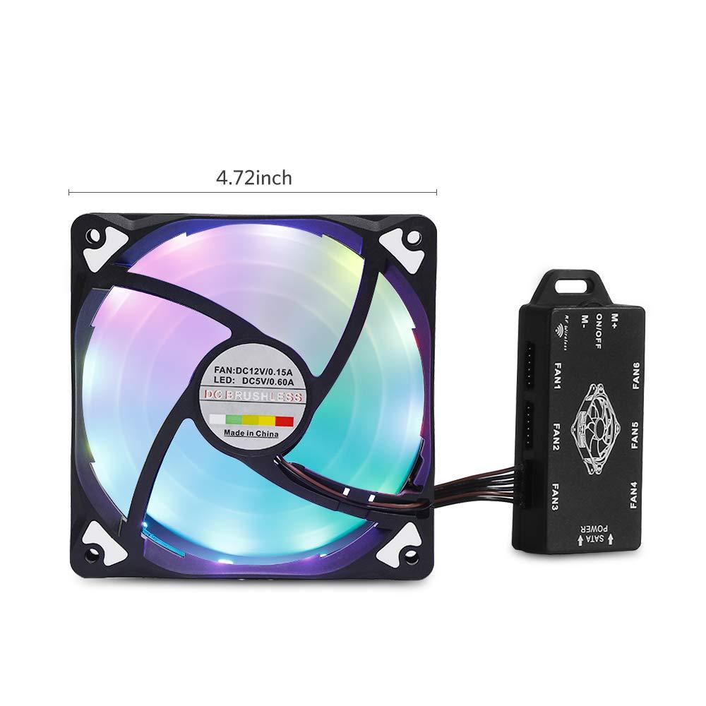 3 Paquets Moreslan Ventilateur dordinateur 120 mm Ventilateur /à LED Haute Ventilateur de Circulation dair Quiet Edition Tasse Multicolore Ordinateur Ventilateurs kit avec t/él/écommande