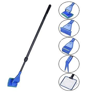 Petacc Juego de herramientas de limpieza 5 en 1 para acuario y pecera, con varilla