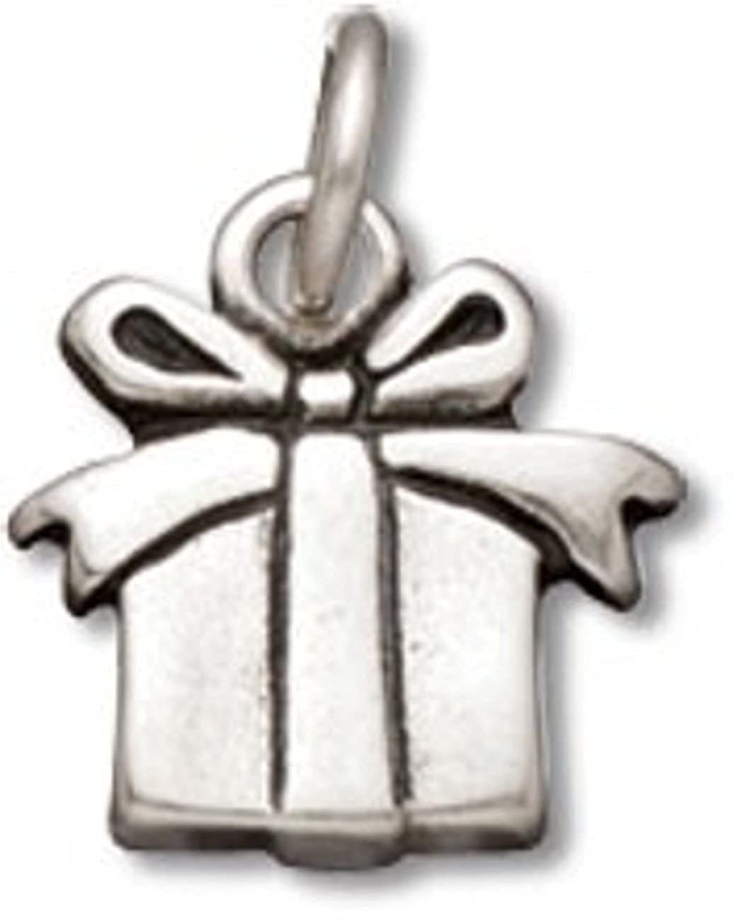Sterling Silver Girls .8mm Box Chain Mini Present Gift Bow Pendant Necklace
