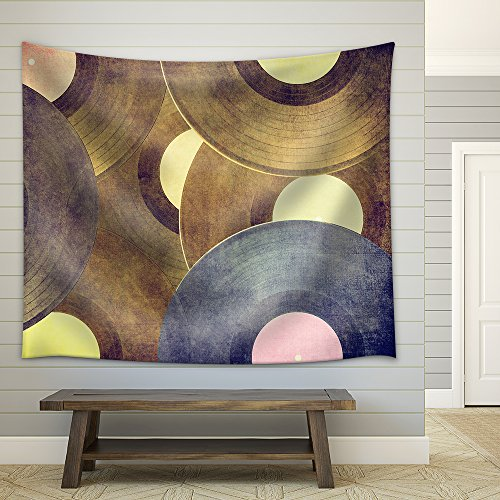 Vinyl Records Music Background Fabric Wall Tapestry