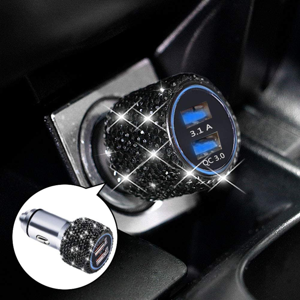 Dual USB Car Charger Quick Charge 3.0 Bling Bling Crystal Car Decorations Black for Fast Charging Car Decors Black for iPhone Android iOS etc