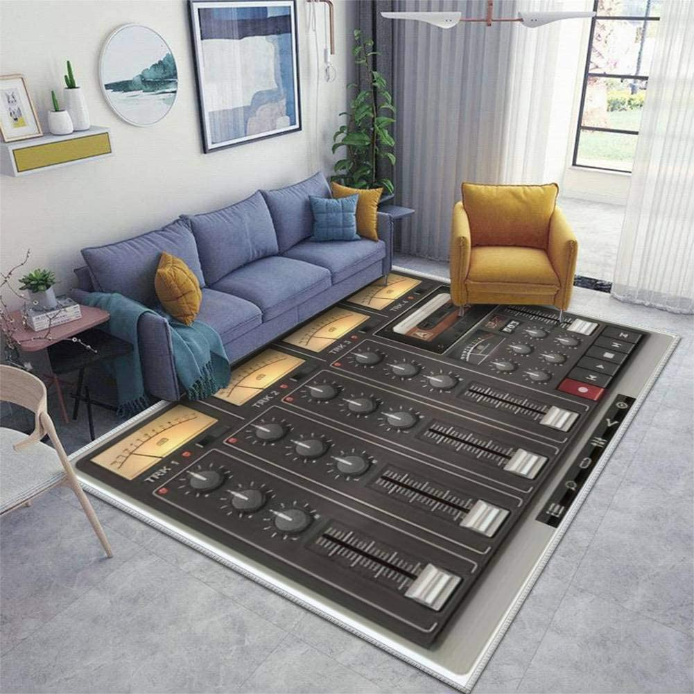 Vector Portable Recording Studio Template with Icons Area Rugs Floor Mat Non Slip Throw Rugs Soft Door Mat Nursery Carpet for Living Room Home Indoor Outdoor Runner Rugs Yoga Mat