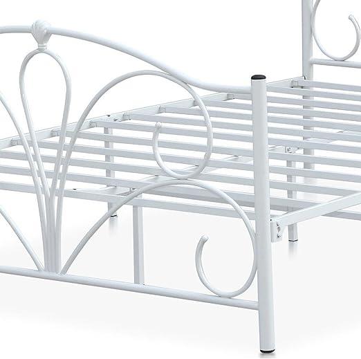Somier de tamaño doble de Popamazing, con marco metálico, para colchón Foundation Base, 121 x 183 cm, metal, Blanco, 197.5 x 141 x 101.5 cm