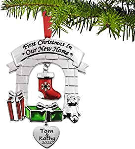 JUPPE Custom Personalized Engraved Our First Christmas in Our New Home Ornament Mr & Mrs Newlywed Xmas Tree Decoration Romantic Couples Gift (Custom Listing)
