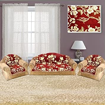 The Intellect Bazaar 450 TC Velvet Sofa Cover Set (6 Pieces)-5 Seater Set, Maroon